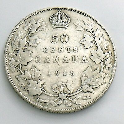 1916 Fifty 50 Cent Canada Half Dollar George V Circulated Canadian Coin H878
