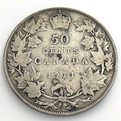 1911 Fifty 50 Cent Canada Half Dollar George V Circulated Godless Coin H881