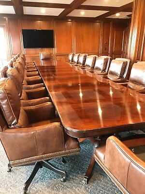 Leighton Hall Large Custom Mahogany Banquet Dining Conference Table 24 ft.