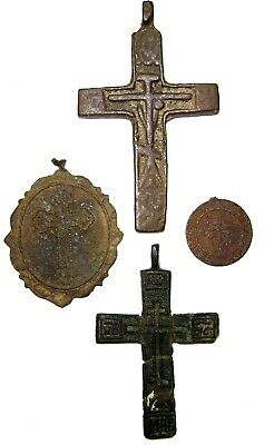 Ancient lot of 4 bronze pectoral Believer crosses/ pendants Middle Ages.