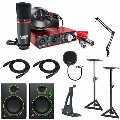 Focusrite Scarlett 2i2 Studio Audio Interface and Mackie CR4BT Monitor Bundle