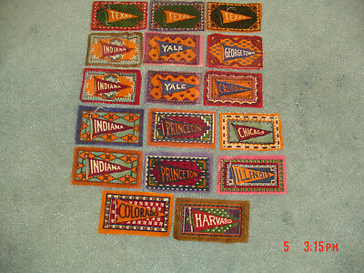 LOT OF 17 -  B51 COLLEGES TOBACCO FELT PENNANT RUGS 1900S - Harvard, Yale, etc..