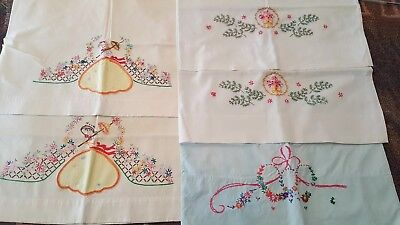 Vintage Hand Embroidered Cotton Pillowcases Flowers Southern Belles Lot Of 5