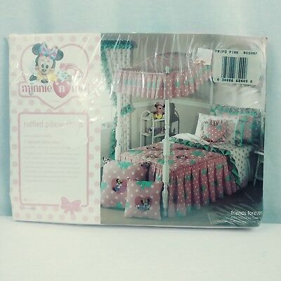 Disney Minnie N Me Ruffled Pillow Sham Pink Polka Dot Bows Vintage 1990s