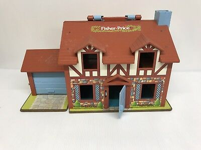 Vintage 1980 Fisher Price Little People Brown Tudor Play House #952