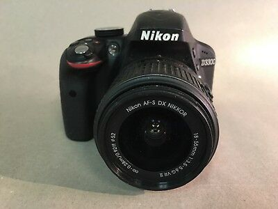 Nikon D3300 DSLR 24.2 MP HD 1080p Camera With 18-55mm Lens, Black, Preowned