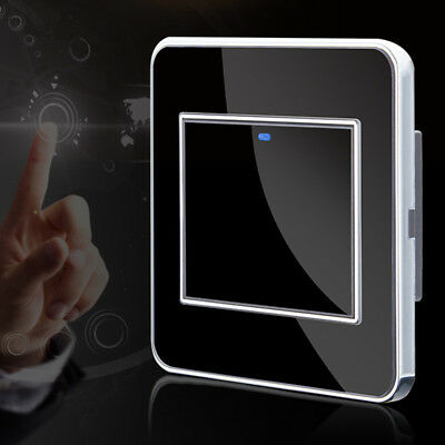 Home Smart Touch Wall Control Light Switch Crystal Glass Panel 1 Way 2 Button
