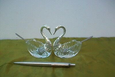 Vintage French Pair of Swan salt pot Glass spoons #51o wedding