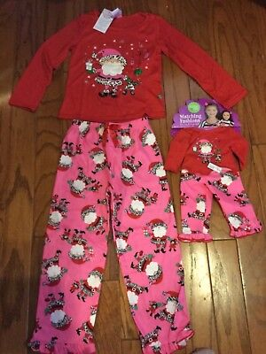 Dollie and Me Christmas Pajamas Size 5 with Matching Doll Outfit NWT SEE COMMENT