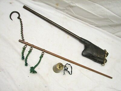 Antique Japanese Hanging Balance Beam Scale w/Brass Weight Japan Leather Case