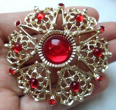 "Stunning Vintage Estate Signed Sarah Cov Red Cab Gold Tone 2 1/8"" Brooch!! 5209G"