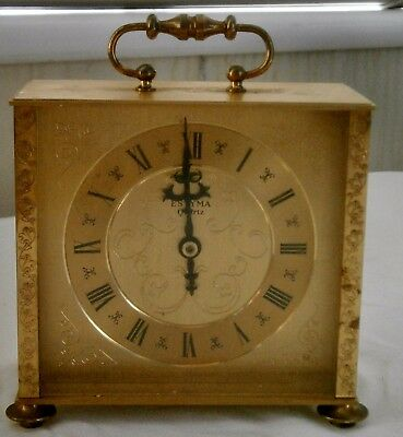 Quality ESTYMA brass CARRIAGE CLOCK heavy, battery, QUARTZ