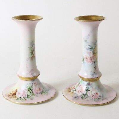 Antique Hand Painted Austria Imperial PSL Pink Rose Candlestick Pair, Candle Hol
