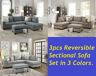 SECTIONAL 3PCS SOFA Set Reversible Chaise Sofa Storage Ottoman in 3 Color  Fabric