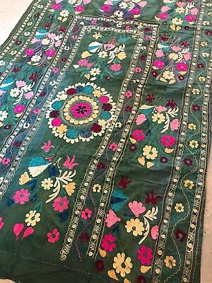 Antique Wall Hanging Tablecloth Hand Embroidered Floral Design 48''x 75''
