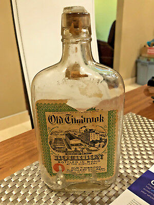 Vintage Pre Prohibition Whiskey Bourbon Pint Bottle OLD TIMBROOK Distillery Co