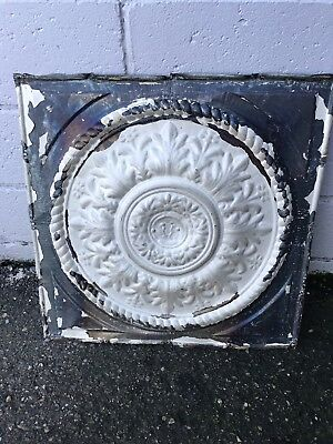"1 Antique Ornate Ceiling Tin Medallion Reclaimed Salvage Art Craft 24"" X24"" NR"