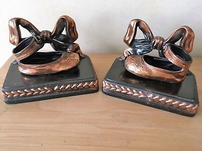 Vntg Set Pair Copper Bronze Coated Baby Shoes Book Ends w/ Bows by Perma Plated