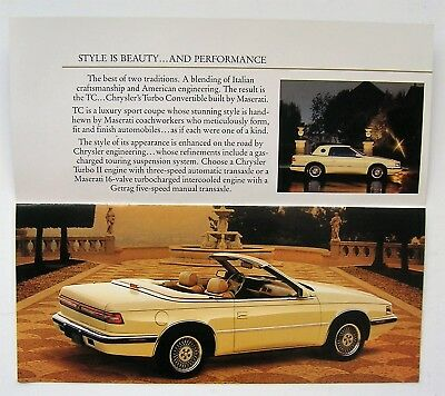 1988 Chrysler Maserati Turbo Convertible Sales Brochure, OEM MINT!