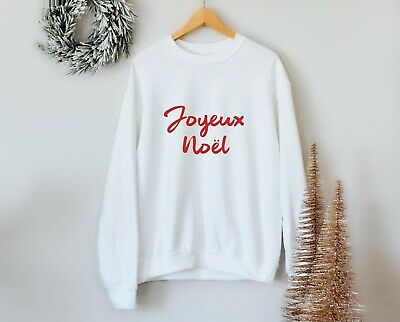 Joyeux Noel Sweatshirt Xmas Party Jumper Red Sweater French Gift Christmas