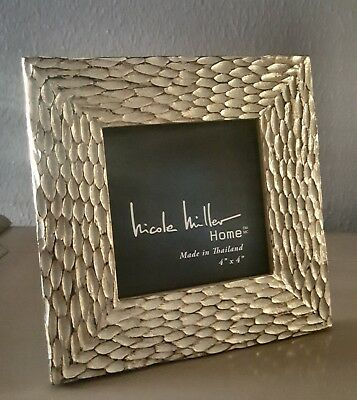 Nicole Miller Photo Frame Braided Cable Knit Design Pewter Metallic