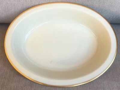 """Lenox Mansfield  China VEGETABLE / SERVING BOWL 9 3/4"""" Oval Gold Ivory Mint"""