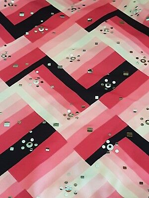 dance fabric, spandex, costume, material, stretch 4 way. Pink & Black, foil