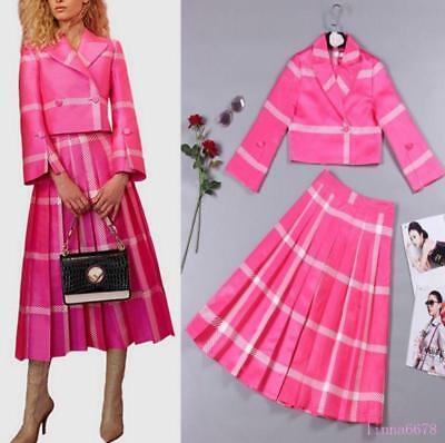 Womens Occident Cute Rose Red ladies Two-Pieces coat+pleated Skirt Suits 2019 YH