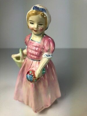 "Royal Doulton (England) ""tinkle Bell"" Little Girl With Flowers And Basket, Cute!"