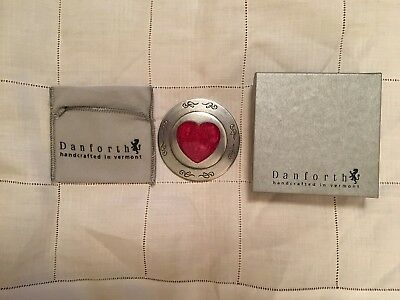 Danforth Pewter Heart Purse Mirror Red - 3 1/2 Inch Diameter - Gift Boxed