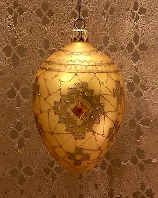 Large Elegant Gold Glass Christmas Ornament Egg Shape Copper Rhinestones Glitter