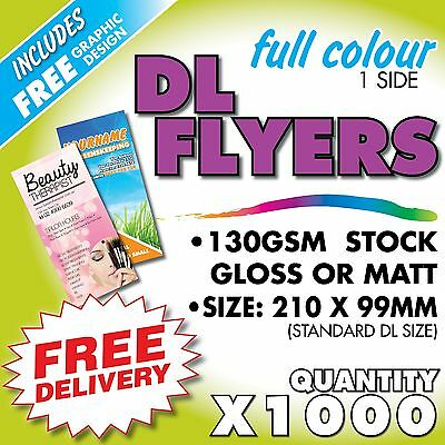 1000 X Full Colour Dl Flyers (Inc. Free Design) 130Gsm