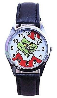 Dr Seuss The Grinch Christmas Black Leather Band Wrist Watch