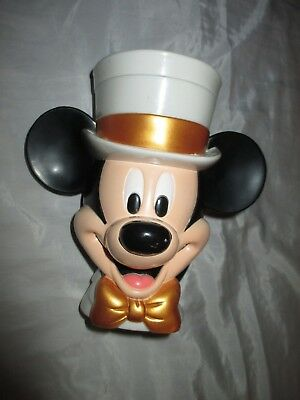 Disney On Ice Mickey Mouse Gold Top Hat Plastic Flip Lid Mug