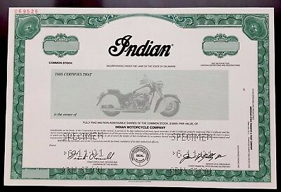 Indian Motocycle Co. SPECIMEN Stock Certificate - Chief Vignette - SUPER RARE!