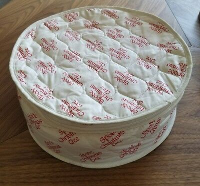 SPODE CHRISTMAS TREE round foam padded 6 teacup red+white quilted storage bag
