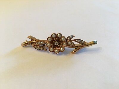 Antique Vintage 14k Yellow Gold Seed Pearl Diamond Flower Pin Brooch 5.6 g