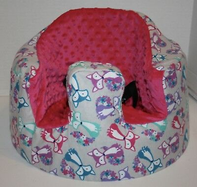 New Bumbo Floor Seat COVER • FLOWER TAIL FOX w/Pink Seat • Safety Strap Ready