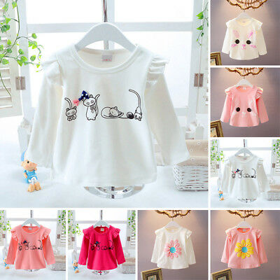 Autumn T-shirt Blouse Baby Infant Sleeve Cotton Long Tops Round Toddler Girl