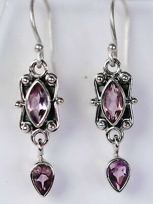 420 Amethyst Antique Style Solid 925 Sterling Silver earring 4 facet gems rrp$70