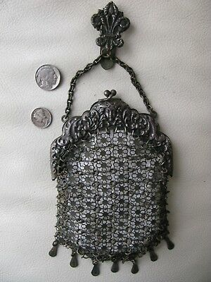 Antique Art Nouveau Woman Fleur De Lis Chatelaine Special Chain Mail Purse 1800s