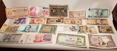 20 Old Foreign Paper Money-Aregentina-Spain-Netherland-Landsbanki-1940S-Nr(22)