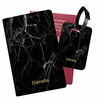Personalised Marble PU Leather Passport Holder Travel Wallet & Luggage Tag - 40