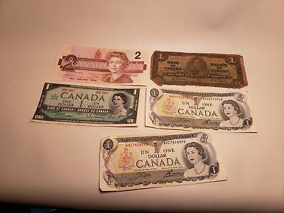 5 PC OLD CANADIAN PAPER ONEY-CANADA-ONE DOLLAR2$-1957-1988-1967-nr(11)