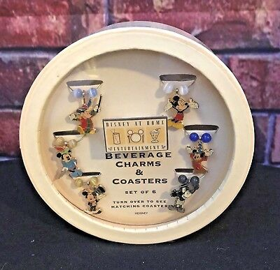 Disney At Home Wine or Beverage Glass Charms and Coasters ~ Set of 6 Mickeys