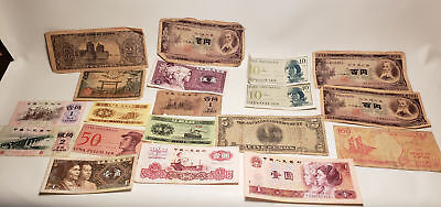 18 Pc Antique Paper Money-Asian-Japan-Korea-100 Yen-Yi Yan-Nippon Ginko10 Kwan#1