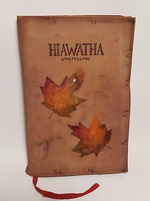 ANTIQUE BOOK-HIAWATHA-BY LONGFELLOW-1899-LEATHER COVER-4x6in-NR