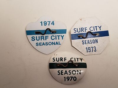 3 Old Beach Badges-New Jersey-1970-1974-1973-Surf City-Nj-Nr(17)