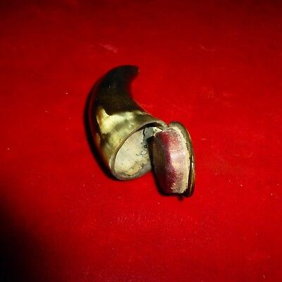 Wonderful Revolutionary War Era Hinged Top Horn / Maroon Leather For Valuables