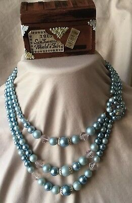 STUNNING VINTAGE ESTATE SIGNED JAPAN FAUX PEARL Ice Blue TRIPLE STRAND NECKLACE